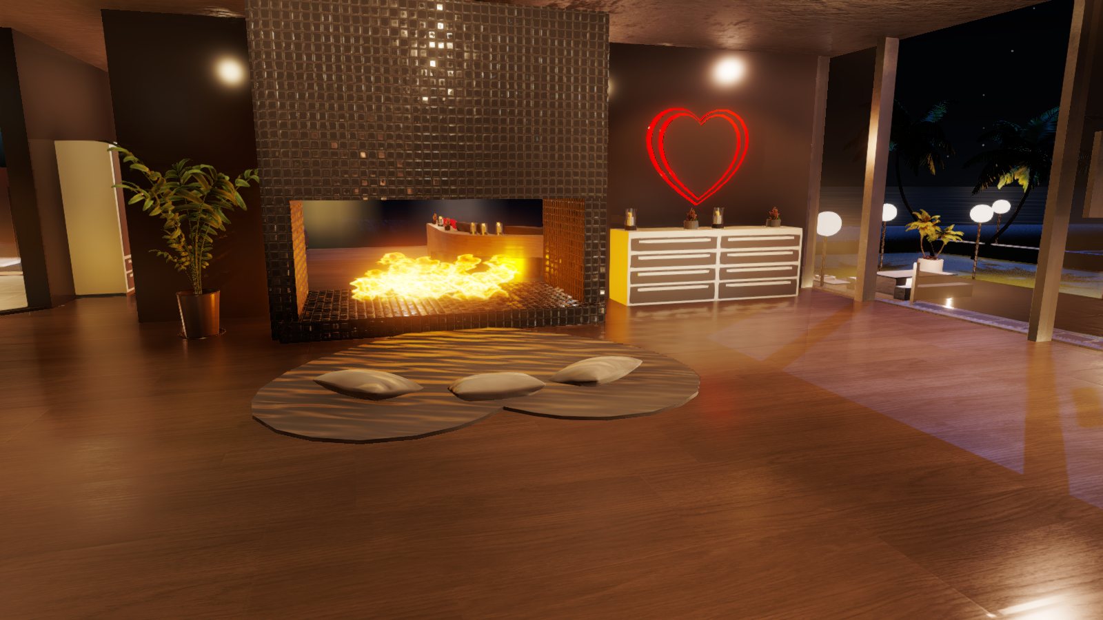Fireplace, with bed pose in front