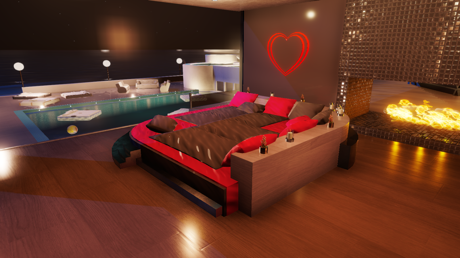 Home made bed, 4 bed poses added into the bed